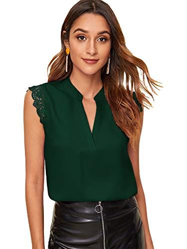 SOLY HUX Femme Blouse sans Manches avec Dentelle Top Col Découpe Chemisier D'été Elégant Casual Chic Mousseline Hauts Shirt Vert 2-M