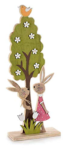 Baum mit Häschenpaar aus Holz 45 cm groß Osterhasenpaar Osterhasenfigur Dekofigur Osterhase Tischfigur für Ostern Fensterdeko für Osterzeit (mit blauen Vogel)