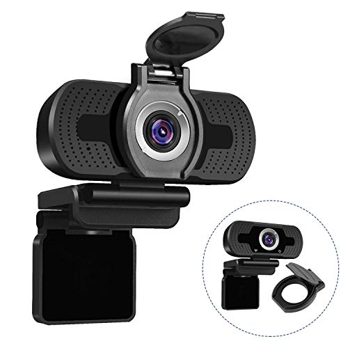 Dericam 1080P 2 megapixel Full HD Webcam, USB Desktop and Laptop Webcam for Live Streaming, Video Calling Computer Camera, Plug and Play, Built-in Mic, Flexible Rotatable Clip
