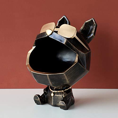 Siunwdiy Perro con Gafas Caja de Almacenamiento estatuas artesanía Caja de Caramelo decoración del hogar Adorno Figurines Figura Escritorio Contador Mesa Resina decoración Vacaciones,Negro