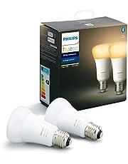 Philips Hue Standaard Lamp 2-Pack - E27 - Duurzame LED Verlichting - Warm tot Koelwit Licht - Dimbaar - Verbind met Bluetooth of Hue Bridge - Werkt met Alexa en Google Home