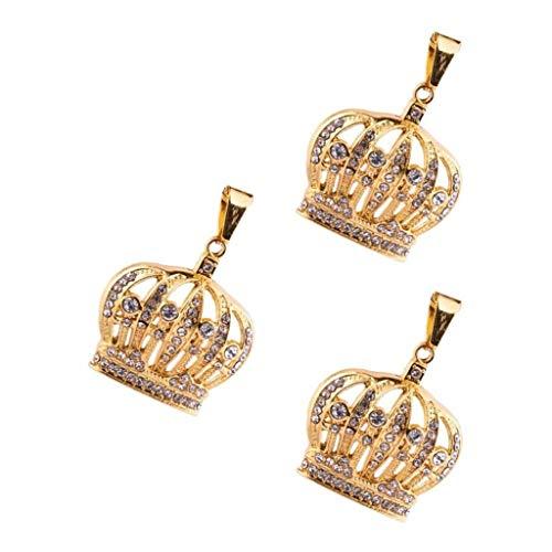Generic Colgantes de Corona de Cristal con Diamantes de Imitación de 3 Piezas, Encantos de Fabricación de Joyas para Collar DIY