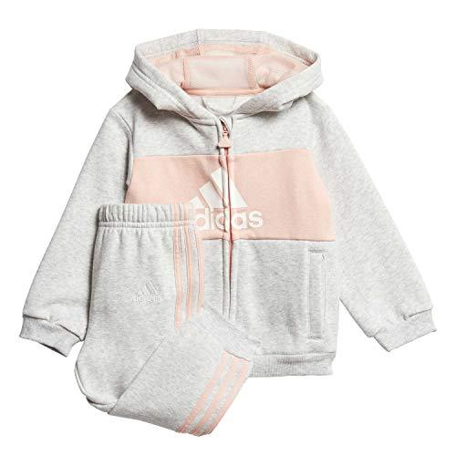 adidas Baby Jogginganzug Logo Hooded Light Grey Heather/Glow pink/White 86