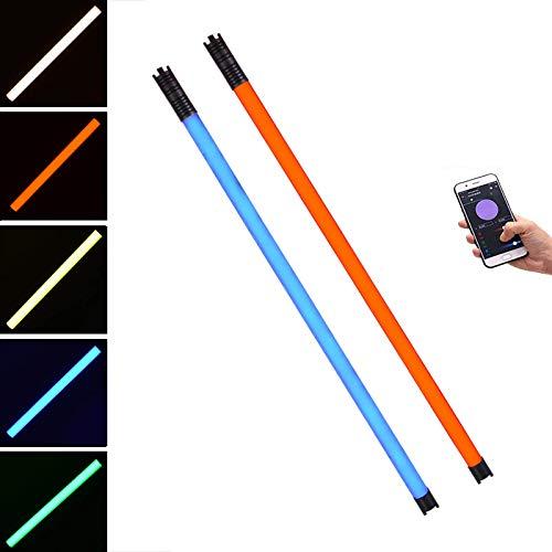 Chameleon RGB Handheld LED Video Light, 2 Packs DF DIGITALFOTO 12 Lighting Mode Photography Light Tube Wand Stick Lights with APP Control for YouTube Studio, 2800-9990K, 4 Ft/116cm, DMX System