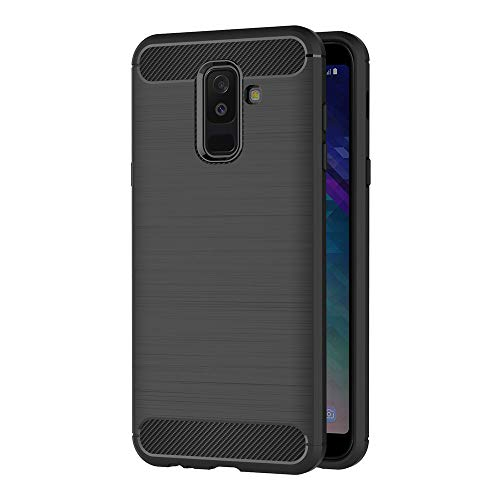 AICEK Coque Samsung Galaxy A6 Plus 2018, Noir Silicone Coque pour Samsung A6 Plus 2018 Housse Fibre de Carbone Etui Case (6,0 Pouces)