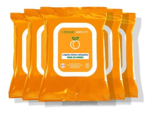 L'Essuie-Fraise - Salviette intime da donna certificate organiche e biodegradabili (confezione da 5 confezioni da 14 salviette) //igiene femminile - formula naturale - 70 salviette