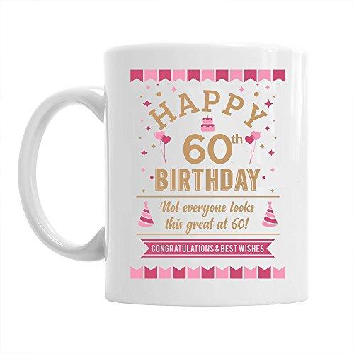 Taza de 60 cumpleaños - Para hombre y mujer - Como regalo divertido o recuerdo - Blanco - 295ml (10 fl oz)