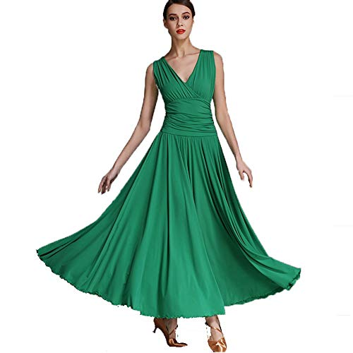 ZZX Frühling Sommer V-Ausschnitt Ärmellos Modern Gesellschaftstanz Großes Pendel Kleid Waltz Nationaler Standardtanz qiaqia Leistung Turnierkostüm (Color : Green-2, Size : L)