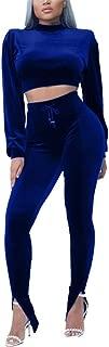 Women 2 Piece Outfits Sequin Velvet Long Sleeve Crop Tops Side Stripe Long Pants Bodycon Sweatsuit Sets
