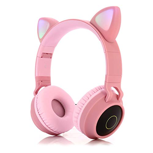 #N/D Lindo gato oído auricular inalámbrico auriculares 5.0 bajo plegable estéreo auriculares juegos para teléfono celular