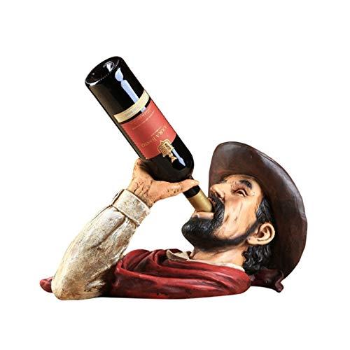 YAOLUU Estantes para Vino Tenedor de Vino de Cabeza de Vaquero Occidental, Estante de Vino de Resina, Barra de Bodega Decoraciones para el hogar decoración Interior Botellero Moderno