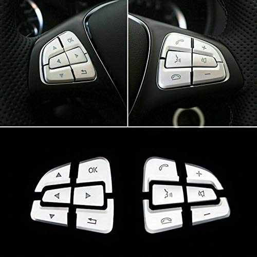 Xotic Tech ABS Chrome Interior Steering Wheel Button Panel Decoration Cover Stickers for Mercedes Benz A B GLA GLS GLE CLS Class