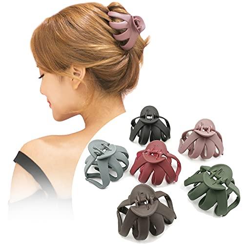 Lot de 6 grandes pinces à cheveux en forme de pieuvre - Pinces à cheveux pour cheveux épais - Antidérapantes - Colorées - Pour femme (6 couleurs)
