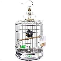 鳥かご鳥用鳥小屋ケージバッジ用エレガント塗装ステンレス鋼鳥かごクリエイティブオウムケージ大胆なスチールリング丸型ケージ旅行鳥かご,L