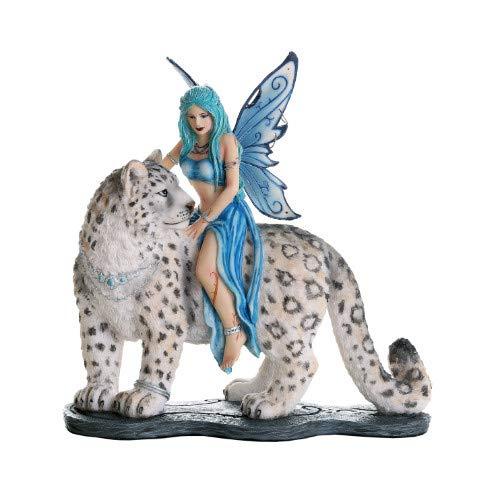 Pacific Giftware Decorative Companion Fairy Hima with Snow Leopard Collectible Decorative Statue 8H