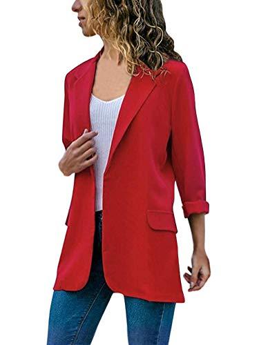Tomwell Mujeres De Marca Americanas Elegante Fiesta Chica 2 Botones Casual Blazers la Pequeña Rojo ES 38