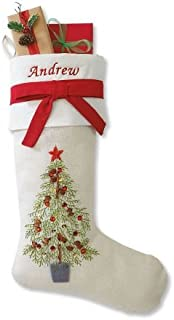 """Lillian Vernon Personalized Embroidered Christmas Stocking – Christmas Tree Design, 20"""" Long, Polyester"""