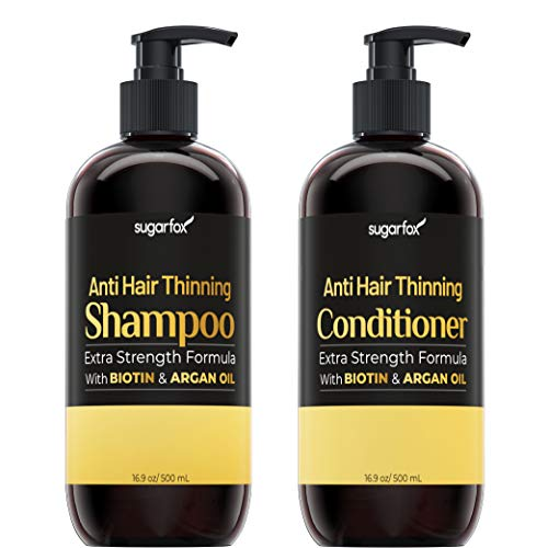 Sugarfox Hair Growth Shampoo & Conditioner | Set for Thinning Hair and Hair Loss with Biotin, Argan Oil and Aloe | Effective Hair Loss Treatment to Repair Damage and Stimulate Growth | 16.9oz x 2