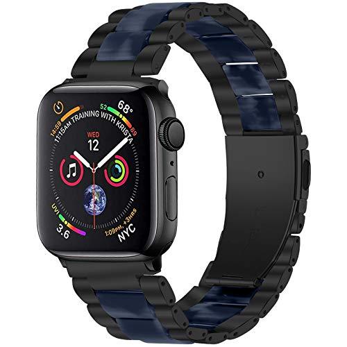 Jennyfly Correa para mujer compatible con Apple Watch de 38 mm/40 mm, correa de reloj de resina cómoda de repuesto con hebilla de metal de acero inoxidable ajustable de 14 a 20 cm.