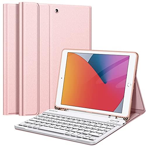 Fintie Tastatur Hülle für iPad 10.2 Zoll (9/8/ 7 Generation - 2021/2020/2019), Soft TPU Rückseite Gehäuse Schutzhülle mit Pencil Halter, magnetisch Abnehmbarer Tastatur mit QWERTZ Layout, Roségold