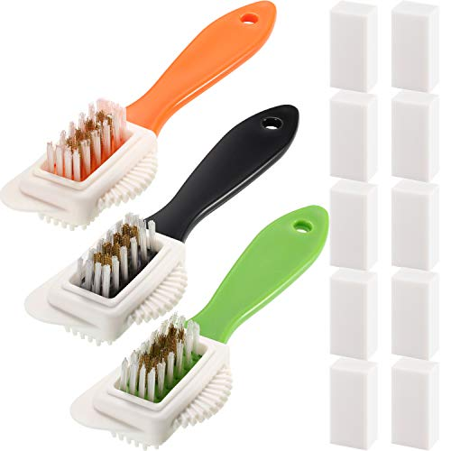 3 Suede and Nubuck Brush 4-Way Leather Brush Shoes Brushes with 10 Erasers (Black, Green, Orange)