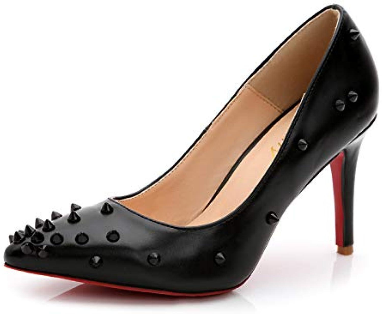 HOESCZS Damenschuhe Farblich Passende Brushed Rivet Spitz Hochhackige Schuhe Schuhe  Alle Produkte erhalten bis zu 34% Rabatt