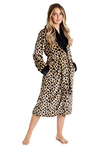 CityComfort Bata de Estar por Casa Mujer Invierno con Capucha, Ropa de Dormir Suave Material Forro Polar Estampado Leopardo o Gris, Batín Tejido Peluche Accesorios Mujer (XL, Leopardo Negro)