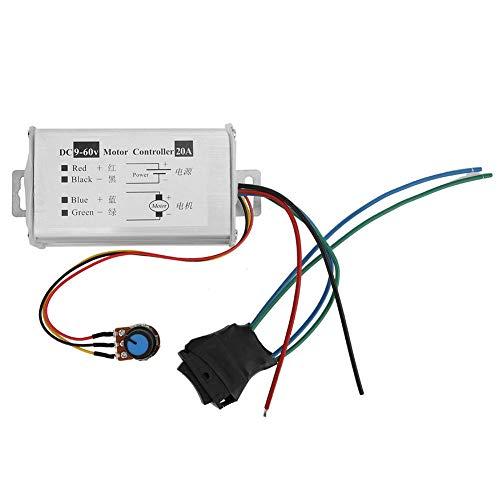 Controlador de velocidad de motor de CC, módulo controlador de controlador de motor cepillado CC 9V 12V 24V 36V 48V 60V Controlador de modulador de ancho de pulso de motor 20A 1200W Monitor PWM Dimm