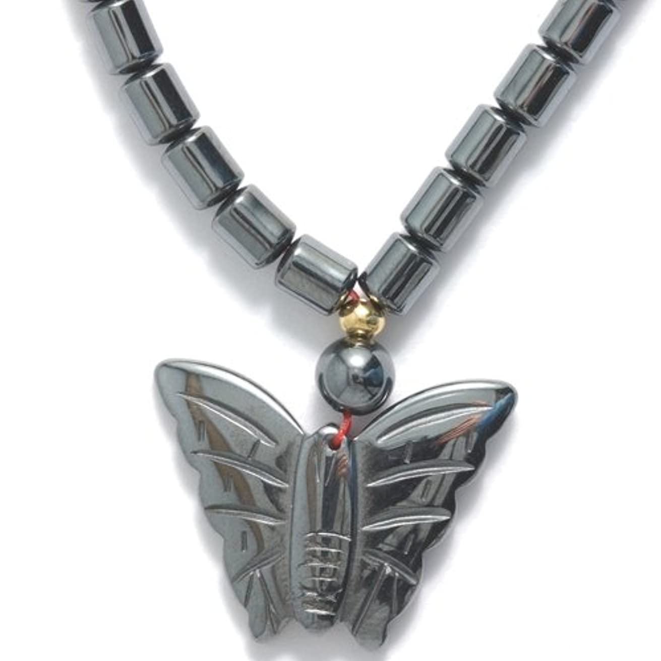 Shipwreck Beads Hematite 17-Inch Necklace with Butterfly, 3-Necklace/Pack