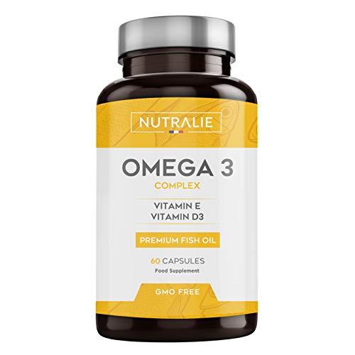 Omega 3 2000mg + Vitaminas D3 y E | 1250mg EPA-DHA por Dosis | Aceite de Pescado Altamente Concentrado 60 Cápsulas | Nutralie