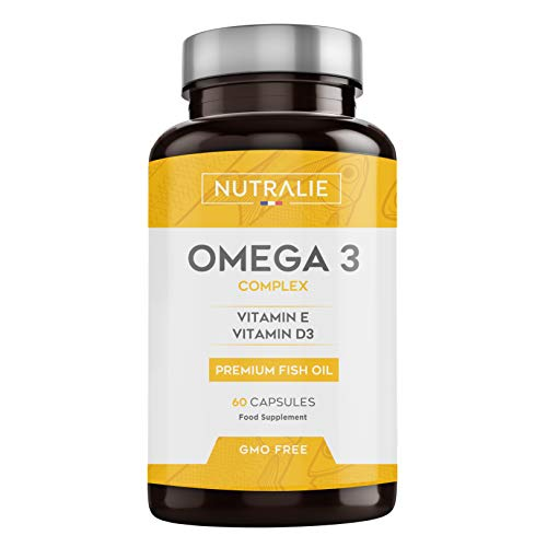 Omega 3 2000mg + Vitamins D3 & E | 1250 mg EPA-DHA per Dose | Premium Fish Oil Highly Concentrated 60 Capsules | Nutralie