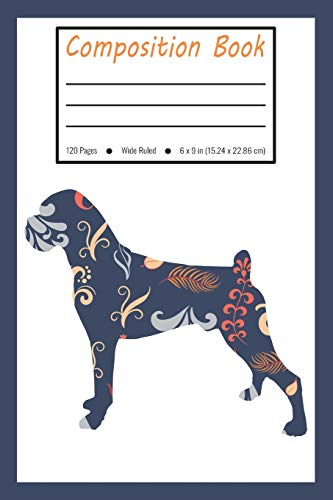 Composition Book: Boxer Dog Blue Flower Wide Ruled Pages For Pet Lovers (Exercise Book, Notebook, Journal)