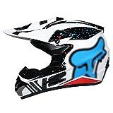 YATT Casco De Motocross, Gafas + Guantes + Conjunto De Máscara Extraíble Lavable Cuesta Abajo DH Motocicleta Todoterreno Blanco Patrón De Copo De Nieve Casco De Montar para Adultos
