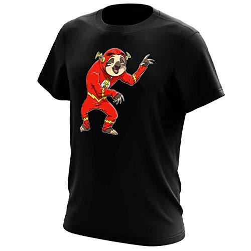 Okiwoki T-Shirt Noir Flash parodique Flash : Plus Rapide Que la Lumière!!. Enfin Presque. (Parodie Flash)
