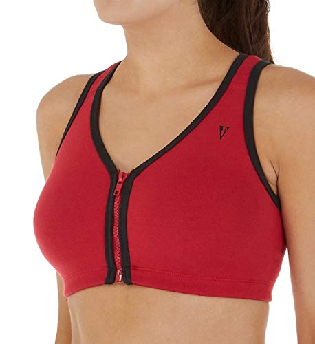 Valmont 1611B Color Block Zip Front Sports Bra (52F/G, Red/Black)