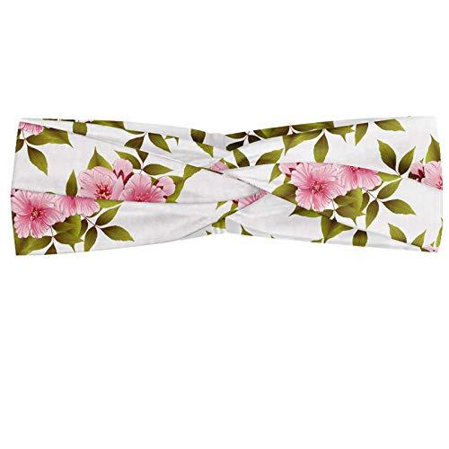 ABAKUHAUS Japans Hoofdband, Het tot bloei komen Sakura Bloemen, Elastische en Zachte Bandana voor Dames, voor Sport en Dagelijks Gebruik, Pale Pink White