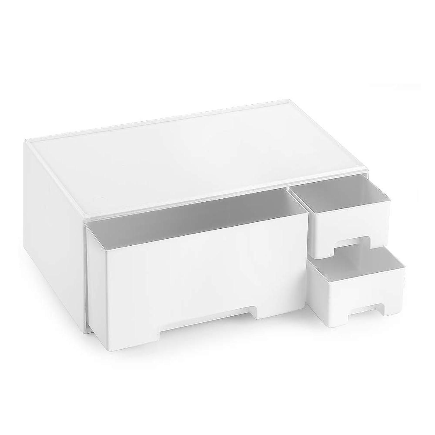 ラックつかまえる役割メイクボックス 化粧品収納 コスメ収納 引き出し 小物/化粧品入れ リモコンラック テーブル収納 コスメ収納スタンド ジュエリーボックス ブラシホルダー 卓上収納 - 下段