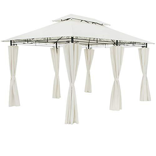 Casaria Pavillon Topas 3x4m Wasserabweisend Metall Garten Stabil Robust Seitenwände Gartenpavillon Luxus Zelt Creme