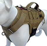 ALBCORP Tactical Dog Vest Harness – Military K9 Dog Training Vest – Working Dog Harness, Large, Coyote Brown