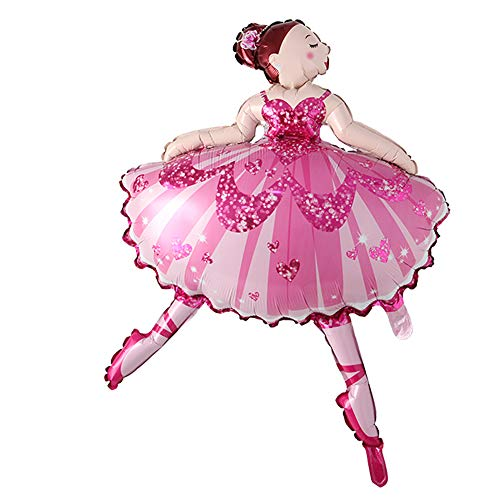 Dancing Big Pink Purple Ballerina Ballet Dancer Girls Foil Helium Balloons Girl's Happy Birthday Party Decorations Supplies Toy (Pink)