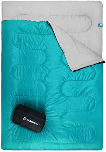 Bessport Camping Sleeping Bag, Double Sleeping Bag 3 Season Warm & Cold Weather for Adults/Kids, Waterproof for Hiking, Backpacking