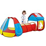 Papepipo 3 in 1 Kids Play Tent with Tunnel - Pop Up Playhouse for Toddlers, Foldable Indoor & Outdoor Ball Pit for Babies