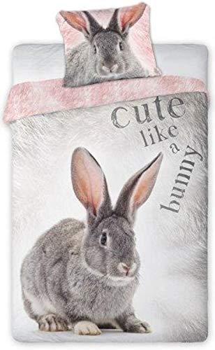 FARO - WILD KROLIK/RABBIT - Kaninchen Tiere Bettbezug und Kissenbezug Original Baumwolle - Mehrfarbig - 140x200 centimeters