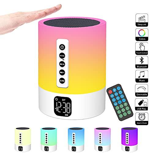 Bluetooth Lautsprecher mit Licht,Wecker mit Licht,Touch Dimmbar Nachttischlampe,White Noise Machine,RGB Farbwechsel Tragbarer Lautsprecher Atmosphäre Tischlampe Geschenke für Mädchen Kinder Jungen