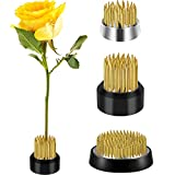 3 Pieces Flower Frog Round Flower Arranger Frog Flower Fixed Tools Japanese Flower Holder Floral Arrangement Pin Holder for Flower Arrangement, Plant Fixation (Gold, 0.91 Inch, 1.02 Inch, 1.3 Inch)
