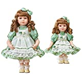 Big and Little Sister Porcelain Dolls with Curls and Bows - Set of 2, Gift Ideas for Girls