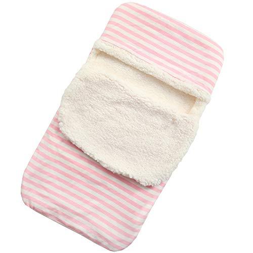 IEUUMLER baby slaapzak capuchon Swaddle knuffeldeken babyslaapzak en kinderwagen haak voor 0-12 maanden baby IE131 Eén maat Roze gestreept.