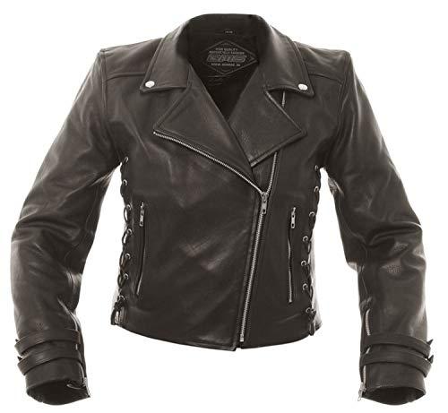 SunnyTrade Damen Motorradjacke Picadilly - wunderschön geschnittene Biker Lady Jacke - mit Schnürung Leder, Größe:44