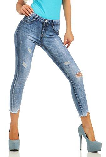 Fashion4Young 10340 Damen Jeans Röhre Skinny 7/8-Jeans Damenjeans Stretch Denim Ankle Slim-Fit (blau, L=40)