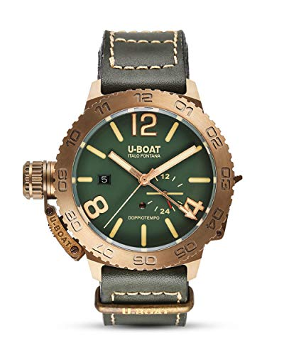 Montre Automatique U-Boat Classico Doppiotempo, Bronze, Vert, 46 mm, GMT, 9088
